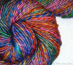 Dancing Hippies II Handspun Art Yarn  160 yards by AFiberLoveJones, $45.00