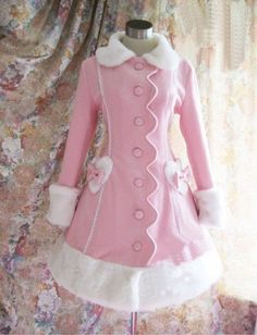 Light pink elegant lolita jacket, with heart shape white fur decorations at sides, attached above is a pink tiny bow. Besides the fur collar, handcuffs and hemline, the front of the jacket is single line buttons with vertical princess design.