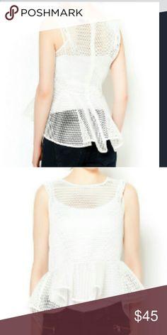 Peplum Top Mesh White Peplum Top WOW couture Tops Blouses