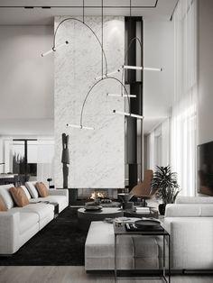 Modern Interior, Modern Luxury, Interior Design, Fireplace Tv Wall, Modern Minimalist Living Room, Australian Homes, Apartment Interior, Living Room Inspiration, Decoration