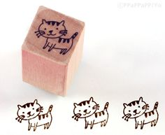 small cat Rubber stamp by ppappappiyo on Etsy, $2.90