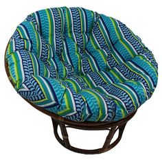 MSRP:  $399.00 GLAM: $259.99 Add style and function to your outdoors or bring the outdoors in with this beautiful rattan papasan chair. The rattan frame offers sturdy support and stability, the generously padded cushion ensures comfort. A tufted design and eye-catching colors give this outdoor/indoor papasan chair a boho vibe. This papasan chair offers you an ideal way to sit back and relax after a long day. Chair and Cushion Materials: Rattan frame, spun polyester outdoor fabric and…