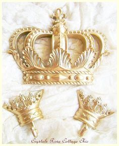 Gold Fleur De Lis Bed Crown Canopy Set Romantic French Chic Princess Nursery / Girls Room / Womens Bedroom Decor Photo Prop by sweetlilboutique on Etsy https://www.etsy.com/listing/174946696/gold-fleur-de-lis-bed-crown-canopy-set