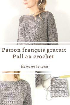 Pull Crochet, Gilet Crochet, Crochet Granny, Diy Crochet, Crochet Top, Sweater Knitting Patterns, Free Knitting, Crochet Patterns, Crochet For Beginners