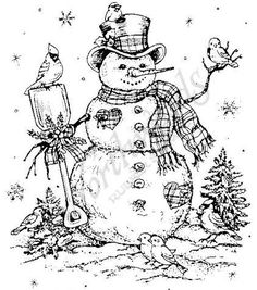 Northwoods Rubber Stamps - Wood Mounted - Margaret's Snowman Cat Coloring Page, Coloring Book Pages, Christmas Colors, Christmas Art, Natural Christmas, Christmas Drawing, Christmas Paintings, Vellum Crafts, Pyrography Patterns