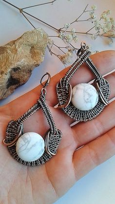 Copper wire wrapped earrings with natural White by Tangledworld