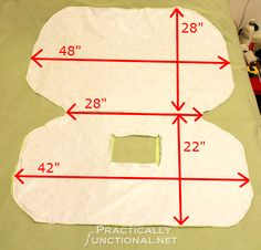 Make your own waterproof car seat canopy: Approximate measurements