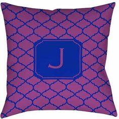 Thumbprintz Moroccan Monogram Magenta Decorative Pillows, Purple