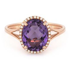 2.64ct Checkerboard Cut Amethyst & Round Diamond Oval Halo Right-Hand Ring in 14k Rose Gold - AlfredAndVincent.com
