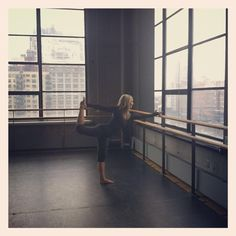 Sadie Lincoln warming up before teaching barre3 at the BAC in NYC.