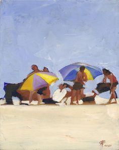 """Contemporary - """"Figures with beach umbrellas"""" (Original Art from http://sboksenbaum.com)"""