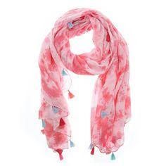 Roze sjaal met kwastjes van Otra Cosa – 1126