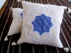 Natural linen denim patchwork pillow case set 2  by crochets4world
