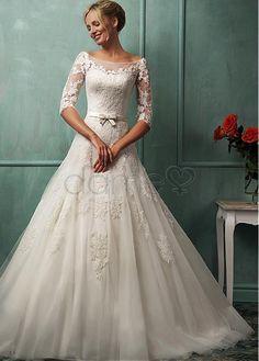 Tüll A-Linie Satin Spitze halbe Ärmel bodenlanges aufgeblähtes Brautkleider 141.16€