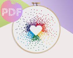 Unicorn Cross Stitch Pattern, Geek Cross Stitch, Cross Stitch Tree, Cross Stitch Heart, Mini Cross Stitch, Modern Cross Stitch, Baby Cross Stitch Patterns, Rainbow Heart, Le Point