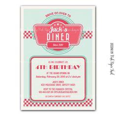 fifties diner supplies | Retro 1950's Diner Themed Invitation v.2 - Digital File - Customizable ...