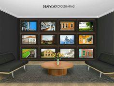 Composições de fotografias na decoração de ambientes e na arquitetura de interiores.
