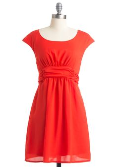 Milan and On Dress - Mid-length, Red, Solid, A-line, Short Sleeves, Party