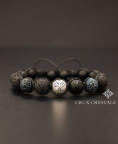 SHOU/larga vida Lava Rock negro ónix y ágata para hombre Pulsera perlas piedras preciosas Shamballa abrigo Mantra tibetano Om Mani Padme Hum longevidad pulsera