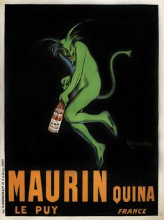 MAURIN QUINA, 1906 Absinthe Advertising Reproduction CANVAS PRINT 24X33 in.