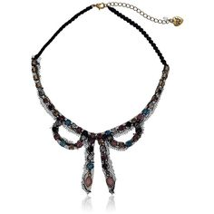 """Betsey Johnson """"Girlie Grunge"""" Fishnet Bow Macrame Necklace, 19"""" (75 CNY) ❤ liked on Polyvore featuring jewelry, necklaces, colorful necklaces, betsey johnson jewelry, tri color necklace, crochet necklace and macrame necklace"""