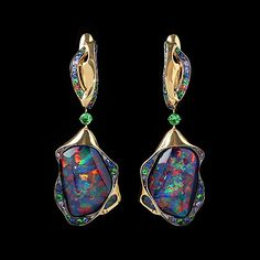 Mousson Atelier Spectrum Collection earrings Yellow gold 750, Opal, Sapphire color, Tsavority