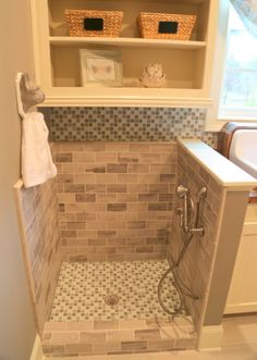 pet washing station Laundry Room Storage, Storage Room, Storage Shelves, Alcove, Tile Floor, Pantry, Storage Shelving, Laundry Storage, Subway Tiles