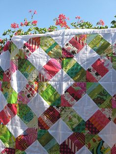 Pink and green X quilt | My new scrappy X quilt in pinks and… | Flickr