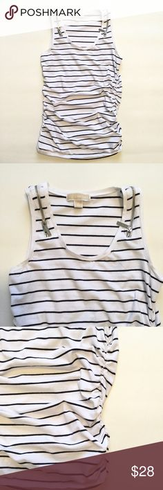 """Michael Kors Top Size small. Zipper design on shoulders. Rouged sides. Long slim fit. Bust approx 34"""" length approx 25.5"""". 95% cotton 5% spandex so it has some stretch to it. Michael Kors Tops Blouses"""