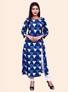 Indigo Blue and White Printed Cotton Kurti Kurti Sleeves Design, Sleeves Designs For Dresses, Neck Designs For Suits, Neck Patterns For Kurtis, Indian Tunic Tops, Printed Kurti, Printed Cotton, Indigo Prints, A Line Kurta