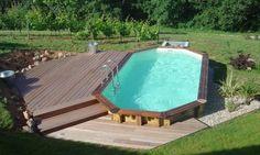 Development of a semi-buried pool by Swiming Pool, Swimming Pools Backyard, Pool Landscaping, Above Ground Pool Decks, In Ground Pools, Semi Inground Pools, Pool Deck Plans, Pool Landscape Design, Backyard Pool Designs
