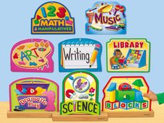 Lakeshore's Learning Center Wooden Signs make it easy to label classroom learning centers!