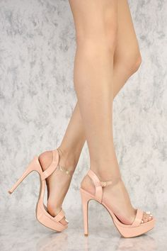 Soft Blush Clear Ankle Strap Open Toe Platform Pump High Heels Patent Faux Leather #highheelspumps