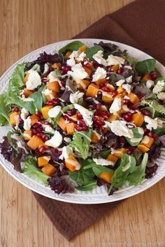 Roasted Butternut Squash Pomegranate Goat Cheese Salad