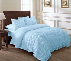 Light blue bedding sets - A good way to spice up any room in the house is with some bright ideas of bedding. Mint Green Bedding, Light Blue Bedding, Peach Bedding, Ruffle Comforter, Blue Comforter Sets, Blue Bedspread, Bedding Master Bedroom, Queen Bedding, Master Bedrooms