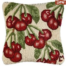 "Cherry Branches 14"" Hooked Pillow"