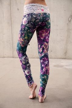BLOOM lace-waist yoga leggings by MuladharaYoga on Etsy