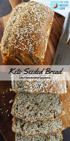 Seeded Bread Recipe - Low Carb Bread With Seeds -Keto Seeded Bread Recipe - Low Carb Bread With Seeds - Gluten-Free Keto Multi Seed Bread - only g of carbs per slice! Keto Bread Coconut Flour, Keto Flour, Keto Banana Bread, Almond Flour, Coconut Oil, Blueberry Bread, Easy Keto Bread Recipe, Lowest Carb Bread Recipe, Easy Cake Recipes