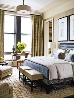 Elegant bedroom. Love the little desk / table by the window. Pretty place to ponder