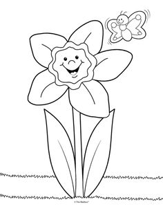 Daffodil Coloring Page Perfect For Little Ones Could Also Be A Labeling Activity