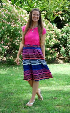 striped old navy skirt and cute, ruffled top. cute summer outfit!! creations by callie