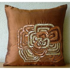 Rust Bloom - Throw Pillow Covers - 20x20 Inches Silk Pillow Cover with Sequin Embroidery