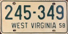 1958 License Plate Restoration and Collection West Virginia 35 of 50