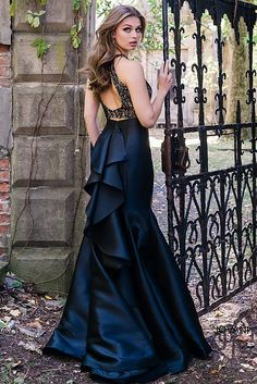 Black Fitted Two-Piece Prom Dress 41194