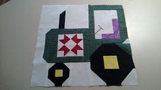 """The Recipe Bunny: Tractor Block Tutorial and Quilty Barns Update  It's the same dimensions as the barns (14.5"""" x 14.5"""" without sashing) so it will fit nicely in with my quilt: Quilty-Barn-Along"""