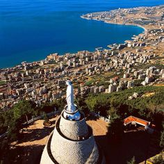 "Notre Dame du Liban The Shrine of ""Our Lady of Lebanon"" in Harissa overlooking the bay of Jounieh, Lebanon"