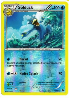 Rare Golduck reverse holographic card, in near mint condition! Comes with a soft…