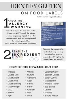 Tips For Gluten-Free Hosting during the Holiday Season - Identifying Gluten on Food Labels Printable - Tayler Silfverduk - Need help navigating grocery shopping for gluten-free foods? Check out this printableTop Tips For Gluten-Free Hosting durin. Gluten Free Food List, Foods With Gluten, Dairy Free Recipes, What Foods Contain Gluten, Gluten Free Shopping List, Sin Gluten, Celiac Recipes, Cooking Recipes, Gluten Free Living