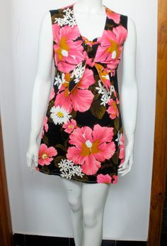 Vintage handmade 60s 2 piece set, neon pink tropical tiki mini dress & cropped vest on Etsy, $59.00 AUD