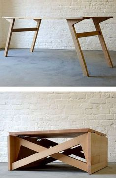 25 Multi Functional Furniture Design Inspiration - The Architects Diary - Coffee table and dining table or office – 25 Multi Functional Furniture Design Inspiration – Th - Folding Furniture, Multifunctional Furniture, Space Saving Furniture, Plywood Furniture, Furniture Projects, Furniture Plans, Cool Furniture, Furniture Design, Bedroom Furniture
